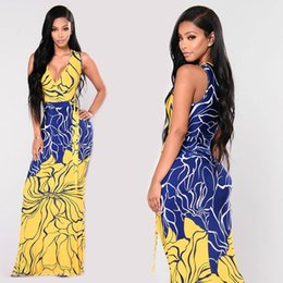 Wholesale Dresses Women S Bow Strapless - 2017 Hot New Summer Women Ladies Printed V-Neck Chiffon Sexy Dresses Sleeveless Strapless Maxi Long Dress