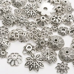 Wholesale Silver Plate End Beads - 130pcs lot Zinc Alloy Antique Silver plated color Bead Caps Fit Jewelry Findings Making End Caps 4-15mm