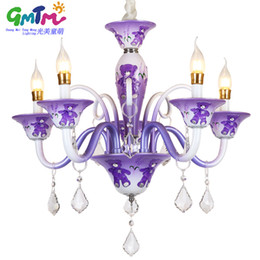Wholesale Blue Glass Hanging Lamp - GMTM lighting suppliers Special offer creative cartoon bear 3 colors Purple pink blue chandeliers Hanging lamps for little boy