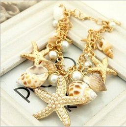 Wholesale Gold Seashell Charms - Starfish Charm Bracelets Seashell Conch Pearl Jewelry Vintage Bangle Bracelets 12PCS LOT Free Shipping 2017