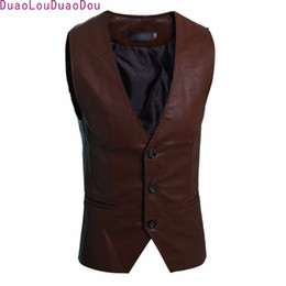 Wholesale Men Sleeveless Leather Jacket - Wholesale- Spring Festival Fall Men's Slim Simple Sleeveless Jacket Vest Artificial PU Leather Temperament Outerwear Vest