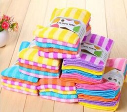 Wholesale Towels Stripes - 5PCS Water Kitchen Colorful Dining Stripe Towel Cloth Square Microfiber (Color: Multicolor)