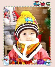 Wholesale girls hats scarves - New children 's Christmas gift cap scarf + scarf two - piece