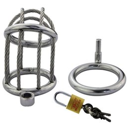 Wholesale Chastity Belt Wire - Stainless Steel Wire Chastity Cock Lock Chastity Belt Penis Rings Male Chastity Cages Devices Toy Adult Sex Shop for Men G161