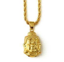 Wholesale Wholesale Small Buddhas - 20pcs Women Tathagata Buddha head Necklaces Golden Hip Hop charm Jesus God small Chains bling Jewelry Gift Pendants