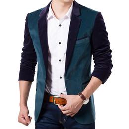 Wholesale Two Buttons Man Blazer - Wholesale- High Quality Mens Velvet Black Slim Blazer Jacket 2015 Autumn Fashion Two Buttons Blazer Men Blazer Coat Casual Brand Men Suit