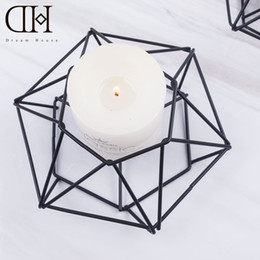 Wholesale Dh Lights - DH geometry metal candle holder party decoration candlestick wedding gold candelabra tea light holder wrought iron candle holders