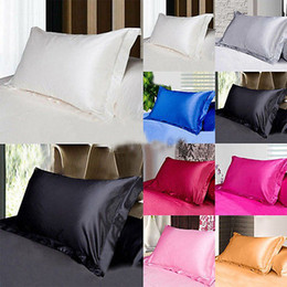 Wholesale Wholesale Cushions Silk - Newest Silk Pillow Case Cover Glamour Rectangle Pillow Case Cushion Home Sofa Car Decor Ice silk Bright Pillow Covers 48*74cm YYA186