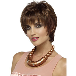Wholesale Headband Ladies - High Quality Classic Fashion Womens KANEKALON Full Hair Wig Lady Short Straight Hair Peluca Peruca Femininas Perruque