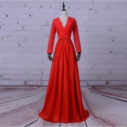 Wholesale Taffeta Pearl Pink - 2017 Red Taffeta Prom Dresses Lace Appliques Pearls A-Line Long Women Runway Fashion Dress Deep V-Neck Covered Button Formal Evening Gowns