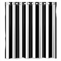 Schwarz gestreiftes gewebe online-Benutzerdefinierte Schwarz-Weiß Striped Waterproof Badezimmer Duschvorhang Polyester Stoff Duschvorhang Größe 66 X 72 von Duschvorhang