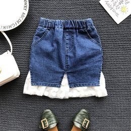 Wholesale Denim Skirts Lace - Autumn Kids Girls Denim Lace Skirts Baby Girls Fashion Casual Dress Babies Clothes 2017 childrens clothing