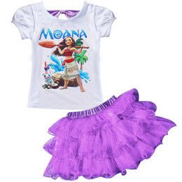 Wholesale Kids Tutu Skirt Tops - baby girls outfits Moana printing short sleeve top+TuTu lace skirts 2pcs set Moana kids suit