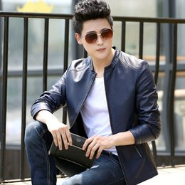 Wholesale Style Men Jacket Fur - men fashion jacket In the spring of men's Leather Men's fashion leather jacket youth casual menswear jacket coat trend of male all-match