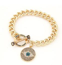 Wholesale evil eye gold charm bracelet - Newest Evil Eye Bangle,Glass Dome Gold Plated Metal Jeweled Bracelet,Good Luck Art Charm Bangle Jewelry