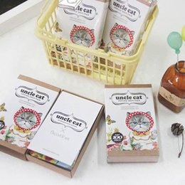 Wholesale Cute Stationery Diy - Wholesale-100Pcs Box Uncle Cat Paper Bookmarks Card DIY Postcard Message Card with Stickers Cute Stationery Office and School Supplies