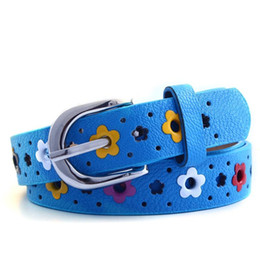 Wholesale Kids Belts Cowboy - Kids Girls Flower Belt 2017 Designer Baby Girls Cowboy PU Leather Belts Children Boy Girl Floral Buckle Leisure Waist Strap Accessories S787