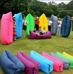Wholesale Blue Beds - Fast Inflatable Sofa Air Sleeping Bags Beach Lounger Hangout Couch Portable Camping Hiking Beds Lazy Outdoor Beach Lay Chairs 30pcs OOA1347