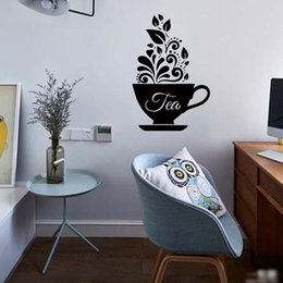 Wholesale Wall Stickers Coffee Decals - Love Coffee Cups Kitchen Wall Tea Sticker Removable Funny Vinyl Personality Decal Art Restaurant Decor Diy