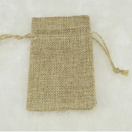 Wholesale Drawstring Gift Bag Paper - 7*9CM Double Layer Natural Linen Drawstring Bags Jute Gift Package Wedding Favor Holder Burlap Pouches Hessian Bags Mobile Power Sack Bags
