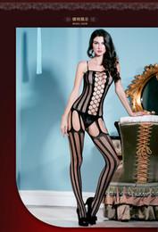 Wholesale Sexy Fishnet Bodysuit - One size sexy body stockings strapless Fmale open crotch fishnet tights women bodysuit lingerie nightwear vestidos MYZ8810
