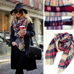 abrigada manta Rebajas Bufanda de tela escocesa de las mujeres Tartán de gran tamaño acogedor Bufanda de la borla Abrigo de la moda Mantón de la rejilla Compruebe Pashmina Enrejado Cuello Malla Estola