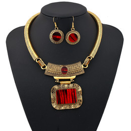 Wholesale Vintage Indian Necklace - Vintage Flower Jewelry Sets Ethnic Gold Plated Statement Behomian Simple Ethnic Maxi Geometry Silver Color Gem Choker Necklace Women Fashion