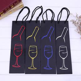 2019 corda del sacchetto di carta Confezione regalo Paper Case Originalità Stampa Pattern Pull Rope Sacchetto singolo vino rosso per portatile Multi colore 1mx C R corda del sacchetto di carta economici