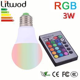 Wholesale Plastic Spotlights - Litwod Plastic aluminum E27 LED RGB Magic Lamp Lamp 3W AC85-265V 220V RGB Led Light Spotlight+ Ir-afstandsbediening controle
