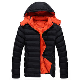 Wholesale Short Down Jacket Hood - Wholesale- men winter down coat with a hood solid color fashion wadded jacket winter thickening cotton-padded jacket