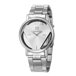 Wholesale Watches Fashion Triangle - Fashion metal alloy stainless triangle hollow watch unisex mens men women sport dress quartz wrist 2017 new wholesale watches