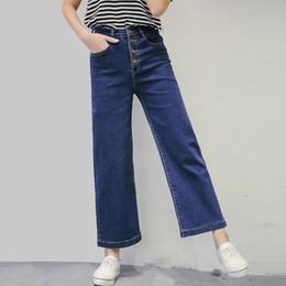 Wholesale Korean Fashion Pants For Women - Wholesale- Harajuku 2017 New High Waist Jeans For Women Korean Fashion Single Breasted Wide Leg Pants Jean Female Loose Denim Trousers