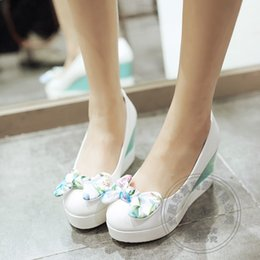 Wholesale Korean Style Office Dress - Women High Summer Style Sweet Pumps Designer Platform Heels 2017 White Shoes Bow Creepers Wedge Korean New Casual Mixed Color