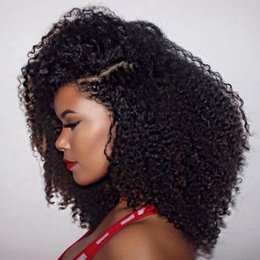 Wholesale Malaysian Kinky Curly Lace Wig - 2017 Soft silk base kinky curly free part glueless full lace wig and lace front wig afro kinky curly human hair wig