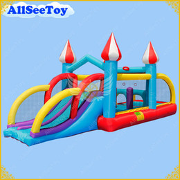 Wholesale Bouncy Houses - Inflatable Jumping Castle Combo Water Slide,Bounce House and Ball Pool for Kids,Bouncy Castle with Air Blower