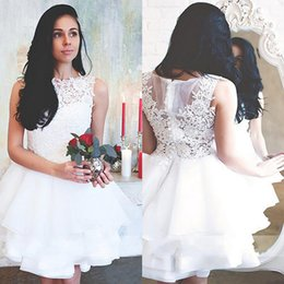 Wholesale Informal Elegant Wedding Dresses - White Lace Short Wedding Party Dress With Organza Ruffles 2017 Elegant Women Informal Wedding Dresss Simple Cheap Reception Bridal Gowns
