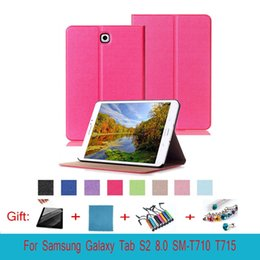 Wholesale Galaxy Triple Case - For Tab S 2 8.0 Smart Cover Touch Series Triple Folding Flip PU Leather Case for Samsung Galaxy Tab S2 8.0 SM-T710 T715