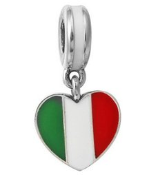Wholesale Italian Jewelry Wholesale - Fits Pandora Bracelets Silver Italian Flag Pendant Spacer Loose Beads For Wholesale Diy European Necklace Jewelry Accessories