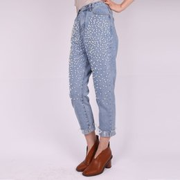 Wholesale leggings rivets - Wholesale- Women's Jeans with Rhinestones Leggings Pearl Embroidered Jeans 2017 Korean Style Harem Jeans Rivet Female Denim Pants Silver