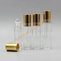 Wholesale 8ml Roll Perfume Bottles - 6ml 8ml 10ml 15ml clear Glass Bottle With stainless roller+gold aluminum lid(two lines),roll-on bottle,perfume bottle,deodorant bottle