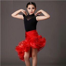 Wholesale Latin Dresses For Children - 2017 sequins latin girl black and red children dance costumes suit+skirt sets for performance kids samba costumes salsa dress fringe