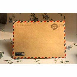 Wholesale Mail Supplies - Wholesale- 10pcs Hot Antique Coffee Kraft Air Mail Retro Postcard Vintage Kraft Envelope Stationary Greeting Gard Cover School Supplies