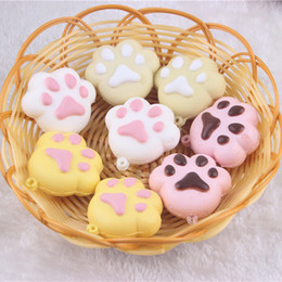 Wholesale Pink Paws - 100pcs lot -4.5cm kawaii squishy slow rising pink yellow white bear cat paw mixed wholesale