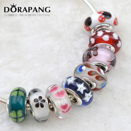 Wholesale Bracelet Screw Ends - DORAPANG 100% 925 Sterling Silver Mixed Color Silver Cord Screw thread Hole Beads Charms Fit Bracelet Bangle DIY Gift 0043-0059