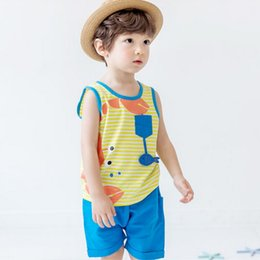Wholesale 3t Tank - Crab Baby Boys Outfits Summer Cotton Toddler Clothes Sets Cute Cartoon Printed Tank Tops + Shorts 2pcs Suits Children sportswear C984