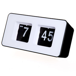 Wholesale Modern Retro Flip Clock - Wholesale-Retro Auto Flip Clock Classic Stylish Modern Desk Wall Clock