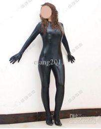 Wholesale Make Penis - Metallic black Sexy Lycra Zentai Spandex Catsuit Costume Add Penis Sheath S-XXL