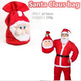 Wholesale Santa Claus Backpack - 2016 1pcs Red Santa Claus gift bag backpack high-grade super soft Santa Claus bag Christmas bags Free shipping