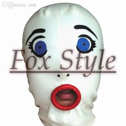 Wholesale Fetish Rubber Hood - Wholesale-free shipping latex handmade fetish doll mask rubber hood