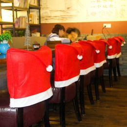Wholesale Christmas Chair Covers Wholesale - 5 Pcs Lot 60cm* 50cm High Quality Santa Claus Hat Chair Covers Christmas Decoration Kitchen Dining Table Decor Home Party